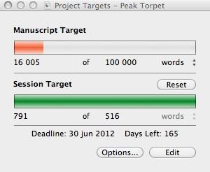 Projektmål 100 000 ord, hittills dryga 16 000